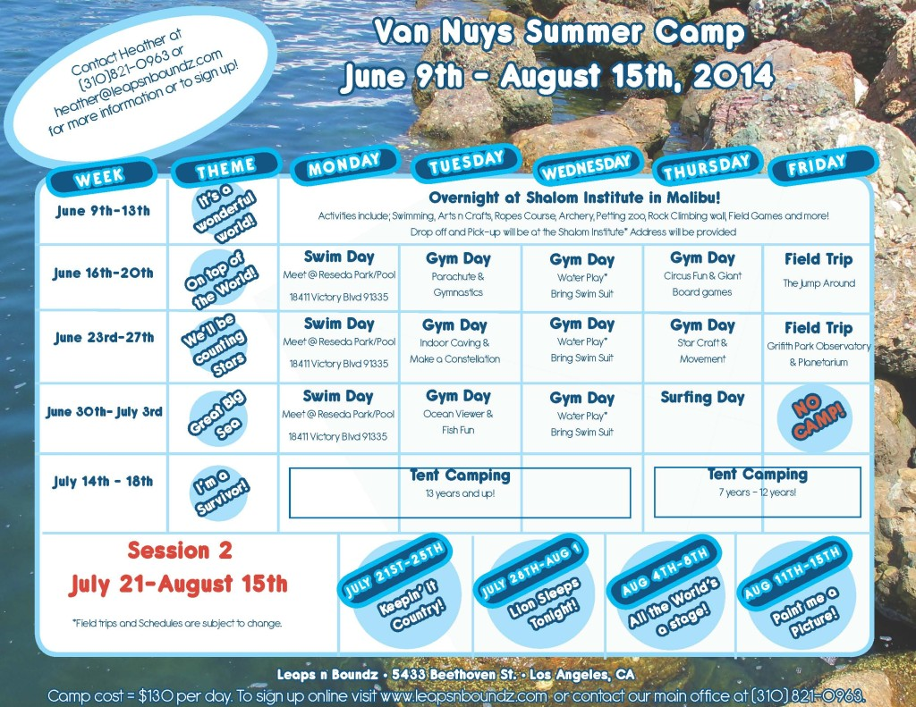 Summer Camp 2014 calendar Van Nuys