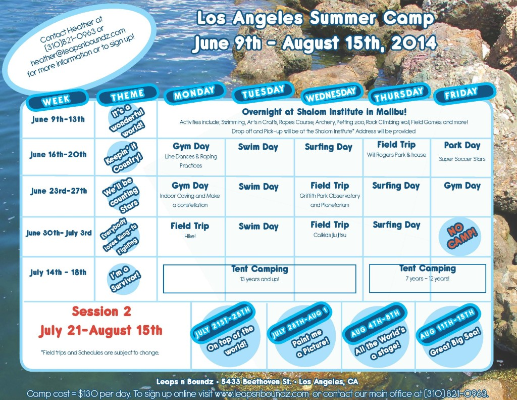Summer Camp 2014 calendar West LA